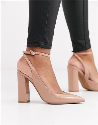 ASOS DESIGN - Pace - Lakleren schoenen met hoge blokhak in beige-Neutraal