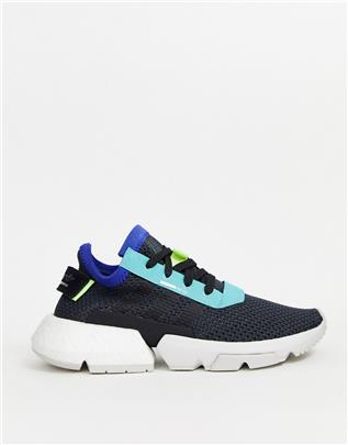 adidas Originals - POD - Sneakers in zwart en geel-Wit