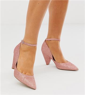 ASOS DESIGN - Speak Out - Halfhoge hakken met brede pasvorm in roze met glitter