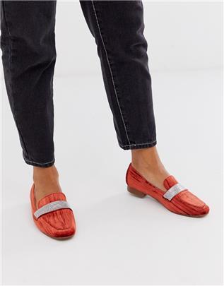 ASOS DESIGN - Manage - Platte loafers met versiering in oranje