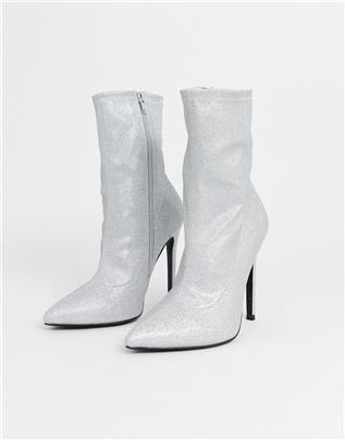 ASOS DESIGN - Esmerelda - Sock boots met hoge hakken in zilver glitter