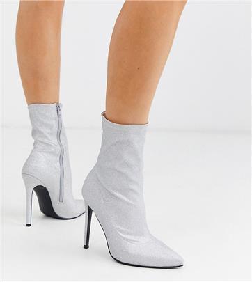 ASOS DESIGN - Esmerelda- Sock boots met hoge hak en brede pasvorm in zilver glitter