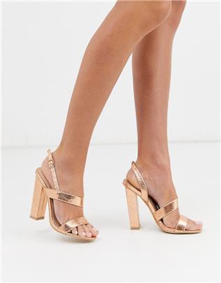 Glamorous - Roségouden asymmetrische sandalen met blokhak