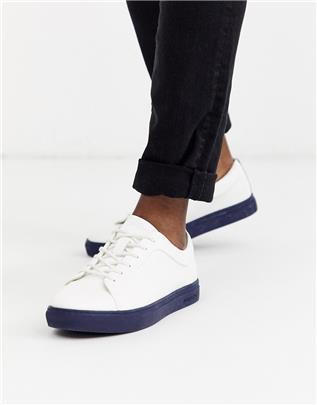 Jack & Jones - PU sneakers met contrasterende zool-Wit