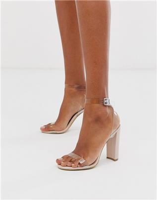 Qupid - Sandalen met hak en doorzichtige band-Beige