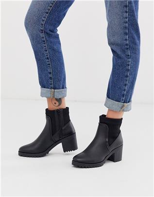 Qupid - Laarzen met hakken in zwart