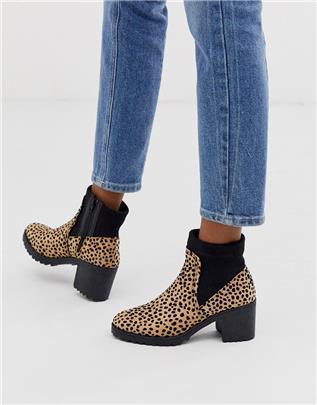 Qupid - Laarzen met hakken en luipaardmotief-Multi