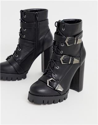 Simmi London - Jodie - Zwarte laarzen met dikke zool en gesp