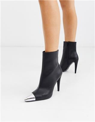 ASOS DESIGN - Exeter - Elegante laarzen met metalen teenstuk in zwart