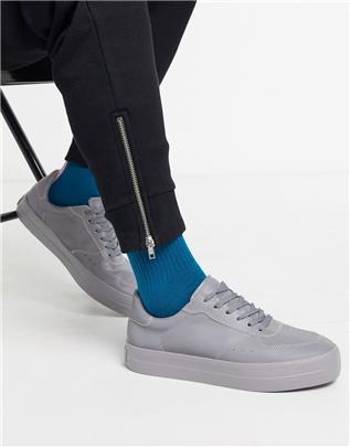 Bershka - Reflecterende sneakers in grijs-Zilver