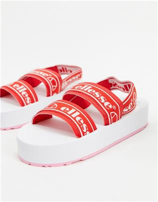 Ellesse - Giglio - Sandalen met plateauzool en logo in rood en wit
