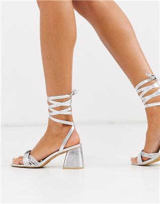 Glamorous - Sandalen met blokhak en gestrikte enkel in zilver