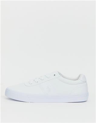 Polo Ralph Lauren - Canvas hanford sneakers in wit met spelerslogo in dezelfde kleurschakering