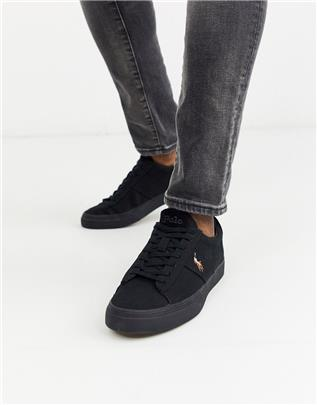 Polo Ralph Lauren - Sayer - Sneakers van canvas in zwart met spelerlogo in dezelfde kleurschakering