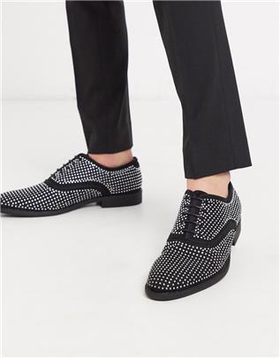 ASOS DESIGN - Nette schoenen met veters van fluweel in zwart met studs