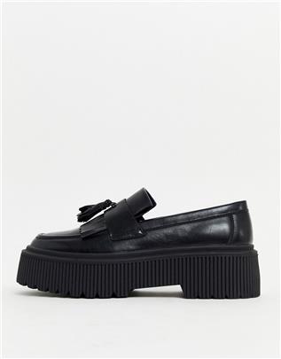 ASOS DESIGN - Loafers van zwart imitatieleer met dikke zool en kwastje