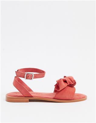 Vero Moda - Leren sandalen met strik-Rood