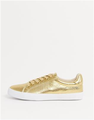 ASOS DESIGN - Dustin - Sneakers met veters in goud