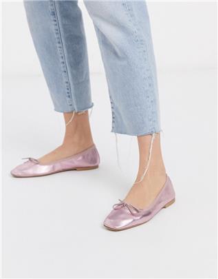 ASOS DESIGN - Layer - Lern ballerina's met strik in lila metallic-Paars