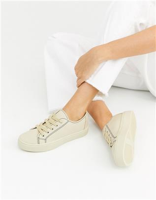ASOS DESIGN - Dusty - Vetersneakers in lichtbruin-Beige