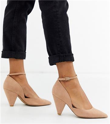 ASOS DESIGN - Speak Out - Puntige schoenen met halfhoge hak en een brede pasvorm in beige