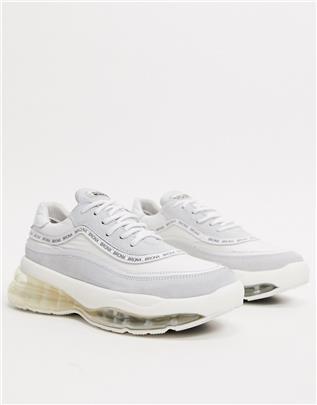 Bronx - Suède sneakers met dikke zool-Wit
