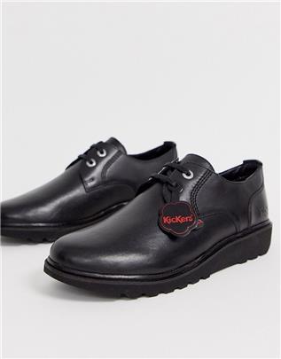 Kickers - Mens Kick c Lite - Leren derby schoenen in zwart