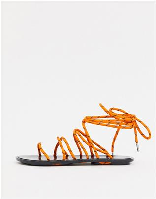 ASOS DESIGN - False Start - Sportieve jelly sandalen met strikbanden in oranje en zwart-Multi