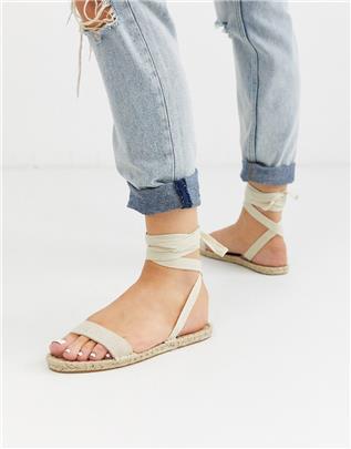 ASOS DESIGN - Juniper - Platte espadrille-sandalen in naturel-Beige