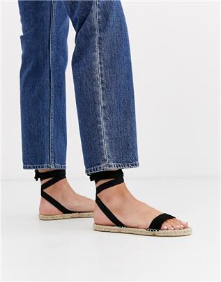 ASOS DESIGN - Juniper - Platte espadrille-sandalen in zwart