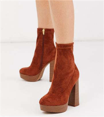 ASOS DESIGN - Blake - Sock boots met plateauzool en brede pasvorm in lichtbruin