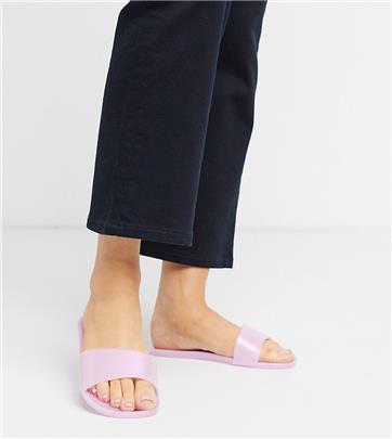 ASOS DESIGN - Jelly slippers met brede pasvorm in roze