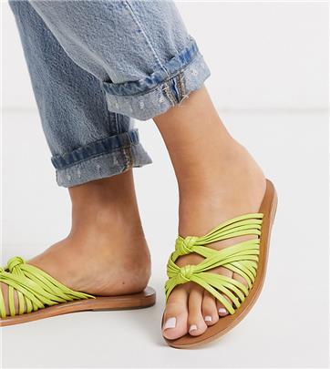 ASOS DESIGN - Veronica - Sandaal met brede pasvorm en knoop in limoengroen