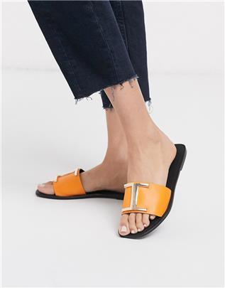 ASOS DESIGN - Factor - Platte leren sandalen in oranje