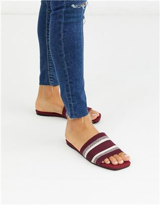 ASOS DESIGN - Fulham - Gestreepte sandalen in bordeauxrood