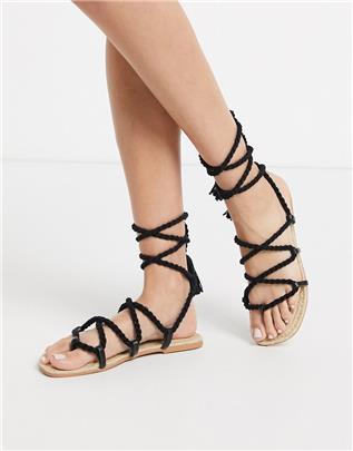 ASOS DESIGN - Jessica - Espadrillesandalen met strikbanden van touw in zwart