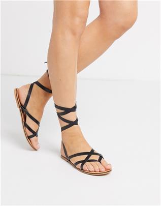 ASOS DESIGN - Framed - Leren sandalen met smalle bandjes in zwart