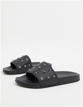 ASOS DESIGN - Slippers met studs-Zwart