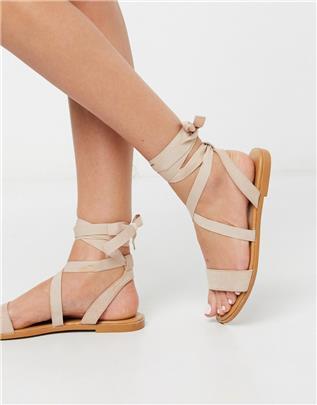 ASOS DESIGN - Finland - Platte sandalen met strikbanden in beige
