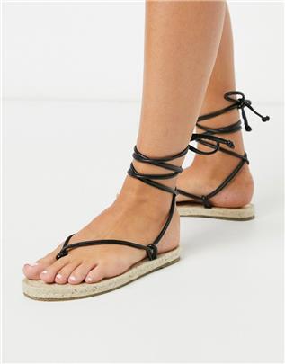 ASOS DESIGN - Joe - Minimalistische platte espadrille-sandalen met strikbanden in zwart