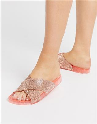 ASOS DESIGN - Future - Slippers met kruisbandjes en siersteentjes in perzik-Goud
