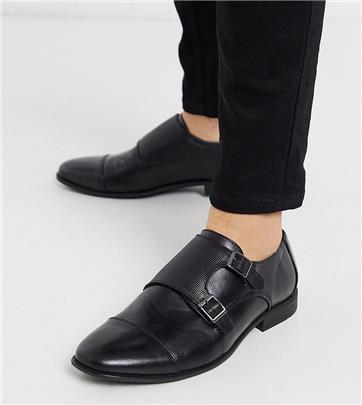 ASOS - Imitatieleren gespschoenen met brede pasvorm en reliëf in zwart