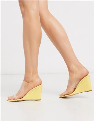 Glamorous - Schoen met sleehak en doorzichtig bovenwerk in pastelgeel