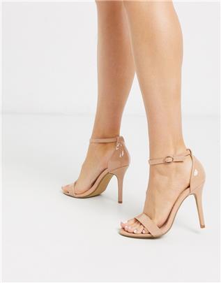 Glamorous - Sandalen met stiletto-hak van beige lakleer-Neutraal
