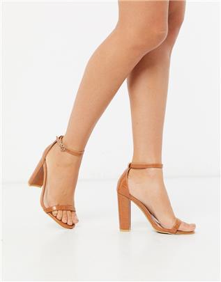 Glamorous - Minimalistische sandalen met hak en krokodilleneffect in lichtbruin