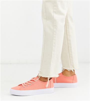 ASOS DESIGN - Sneakers met brede pasvorm en veters in felroze
