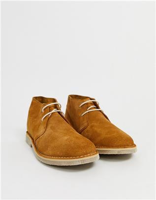 ASOS DESIGN - Suède chukka boots in bruin-Lichtbruin