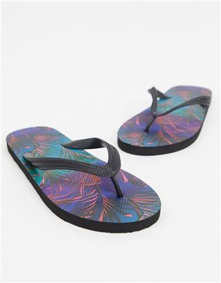 ASOS DESIGN - Teenslippers met palmprint-Marineblauw