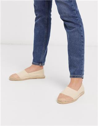 London Rebel - Espadrilles met teenstuk in beige