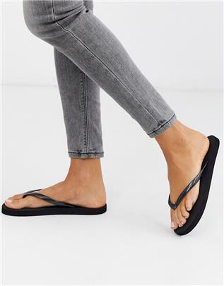 ASOS DESIGN - Filter - Teenslippers in zwart